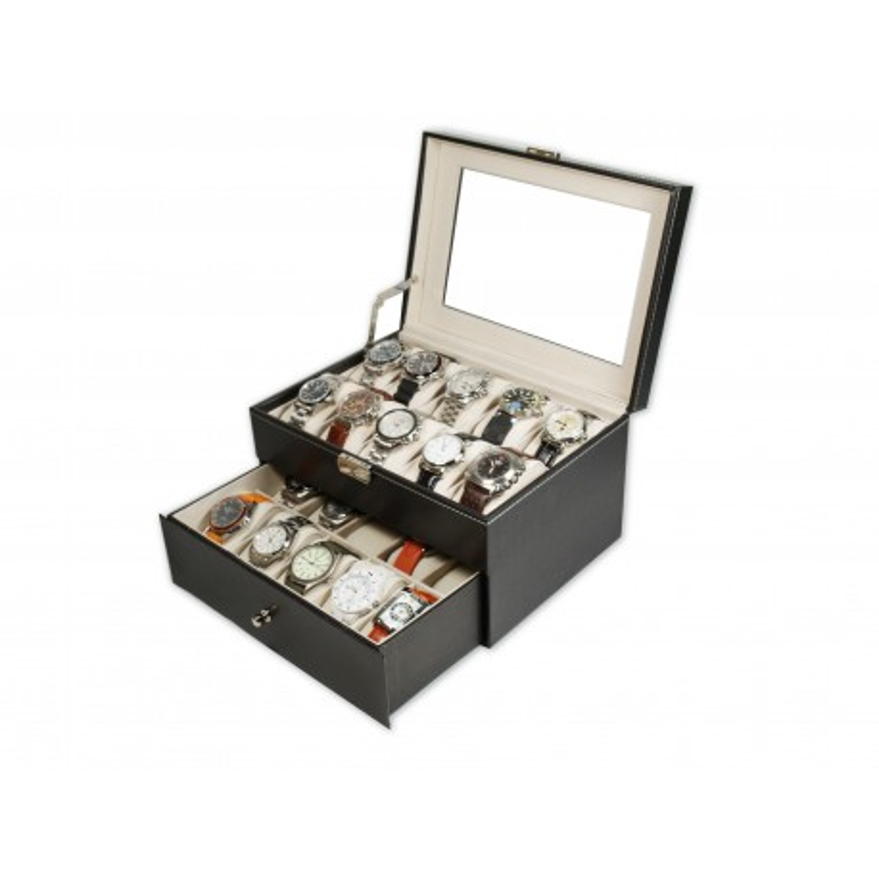 Caja guarda 20 relojes PU Black