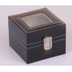 Watch case for 2 PU Leather Black