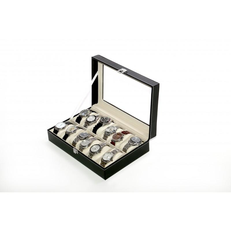 Caja guarda 12 relojes PU Negro