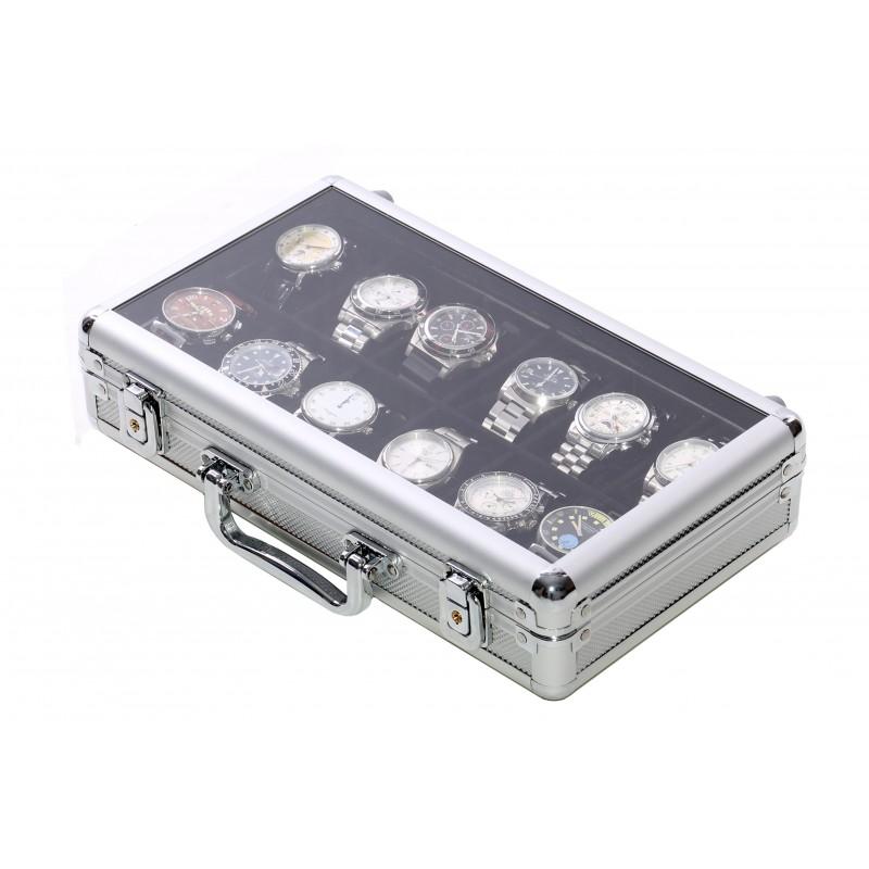 Vitrina guarda 12 relojes en aluminio