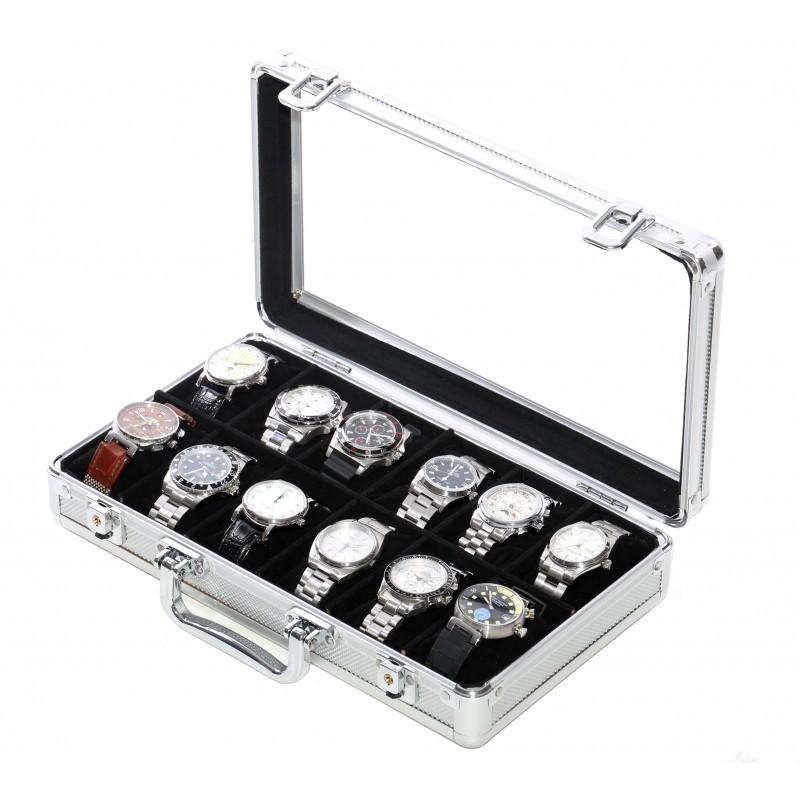 Vitrine 12 montres aluminium
