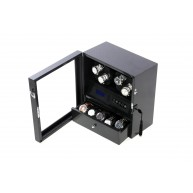 Watch Winder 4 LCD LED light Black Carbon Fiber