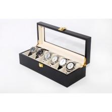 Vitrina madera guarda 6 relojes Negra