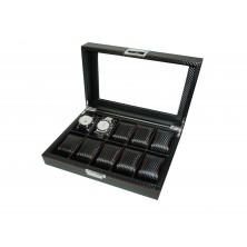 Caixa guarda 10 relógios preto Pu carbon fiber