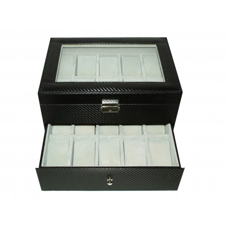 Uhrenbox fur 20 schwarz Carbon fiber matte