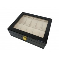 Watch box for 12 Lacquered Wood Black