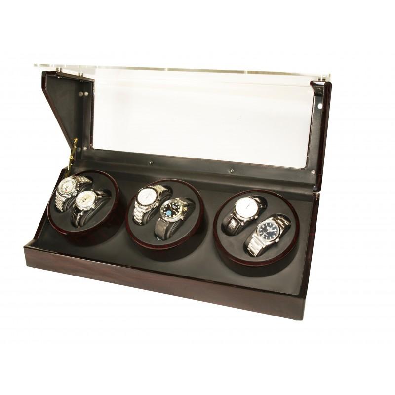 Watch Winder (3 motors 6 watches) Glass Ebony-Black