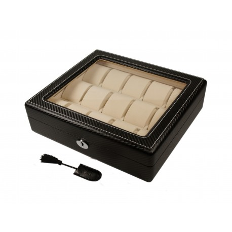 Custodia 15 orologi. Carbon fiber window Cream