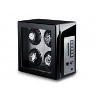 Watch Winder 4 Carbon Fiber LCD Nero