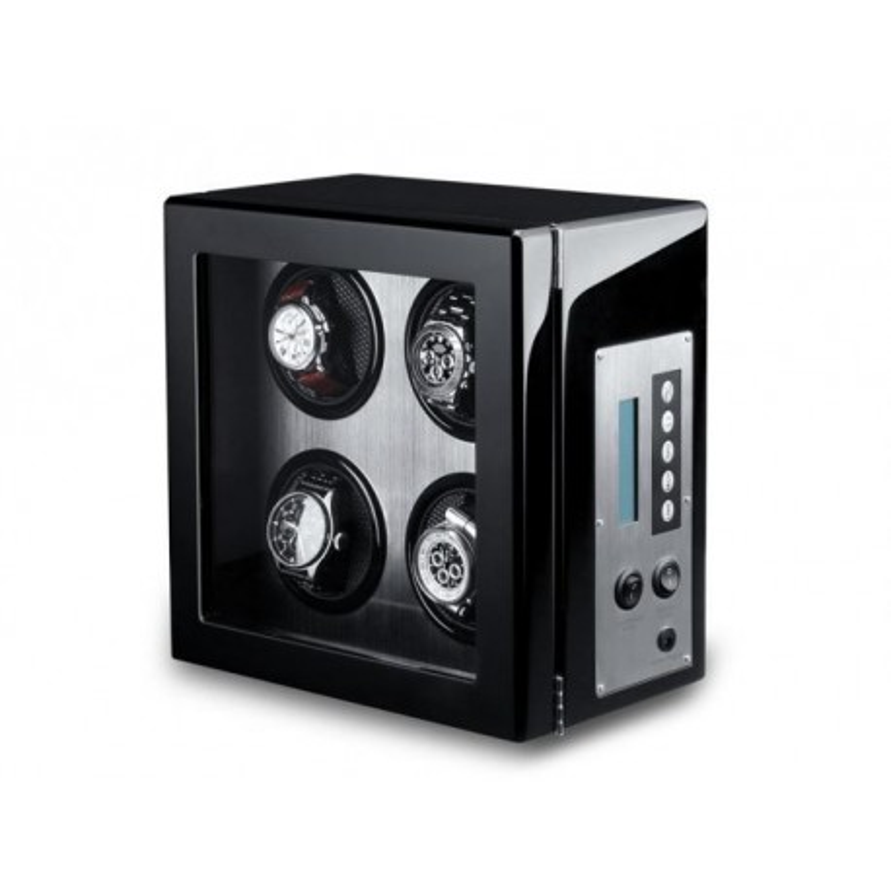 Watch Winder 4 Carbon Fiber LCD Nero