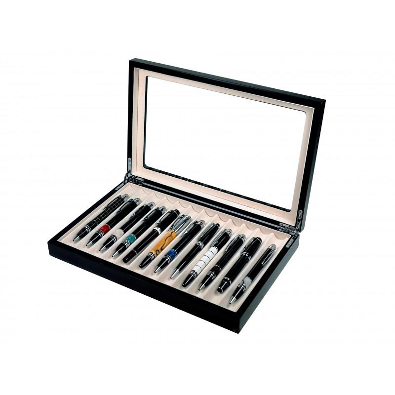 Vitrine for 12 pens black