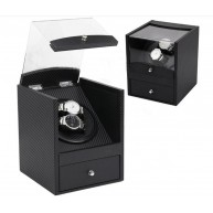 Watch Winder (1 winder 2 watches) Black CF Leather