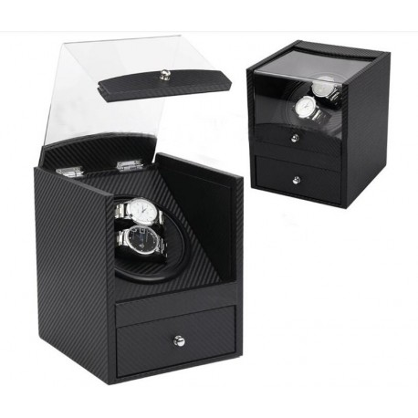 Watch Winder (1 winder 2 watches) Black PU Leather