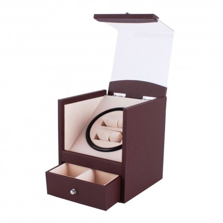 Movimentador Watch Winder 2 relogios Brown PU Leather