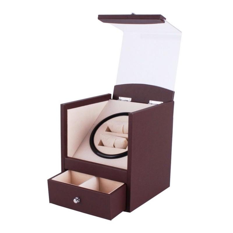 Uhrenbeweger für 2 Uhren Brown PU Leather