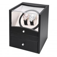 Movimentador Watch Winder 2 relogios Black PU Leather