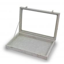 Box for cufflinks, rings, rings, 12 spaces gray velvet