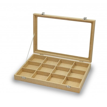 Box for cufflinks, rings, 24 spaces in beige