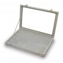 Gray Velvet Earring Storage Box. showcase