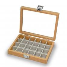 Caja guarda gemelos, anillos ,sortijas ,24 espacios madera