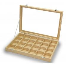 Boîte pour boutons de manchette, bagues, 24 espaces en bois
