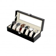 Watch case for 6 PU Leather Black