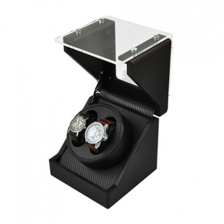 Watch Winder (1 winder 2 watches) GLASS-black CF