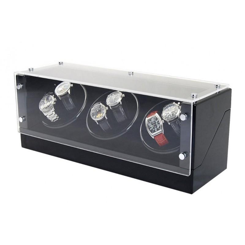 Watch Winder ( 3 motors 6 watches) GLASS-black