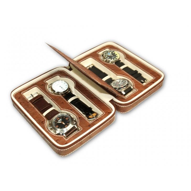 Zipper case for 4 Watches Ostrich