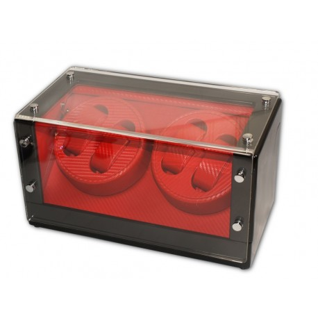 Watch Winder ( 2 motors 4 watches) Black-Red
